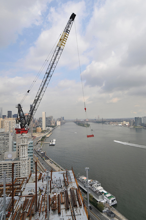 Construction crane, New York City, NY, East River, Midtown
