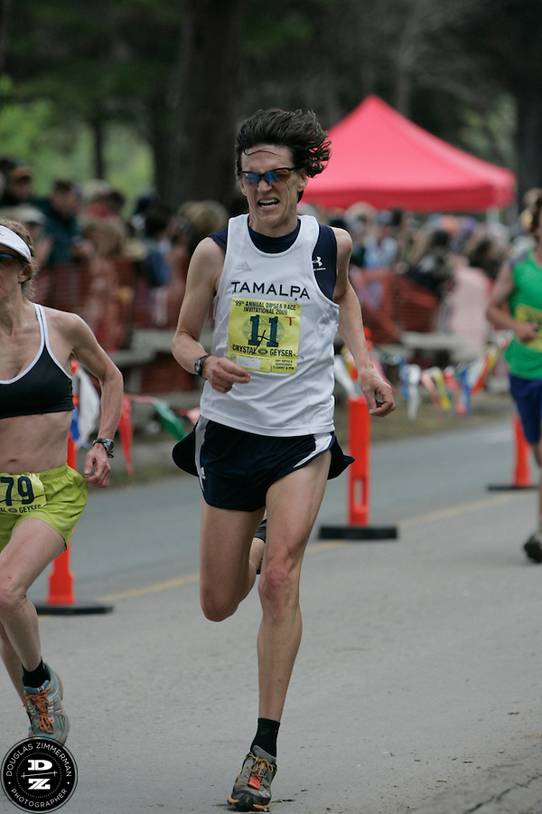 Roy Kissin (11) of Larkspur races towards the finish line at the 99th running of the Dipsea Race at Sintson Beach State Park in Stinson Beach, Calif. on Sunday June 14th, 2009...