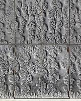 Monumental door (detail), 13,20m by 6,20m, stamped brass, tin and lead, 1974, by Pierre Sabatier, Nanterre Cathedral (Cathédrale Sainte-Geneviève-et-Saint-Maurice de Nanterre), 1924 - 1937, by architects Georges Pradelle and Yves-Marie Froidevaux, Nanterre, Hauts-de-Seine, France. Picture by Manuel Cohen