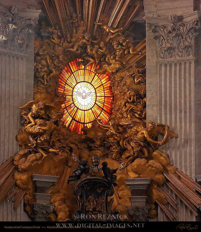 Gloria over Cathedra Petri Chair of St Peter Gilded Stucco Angels and Cherubs Bohemian glass window GianLorenzo Bernini 1666 Apse St Peter's Basilica Rome