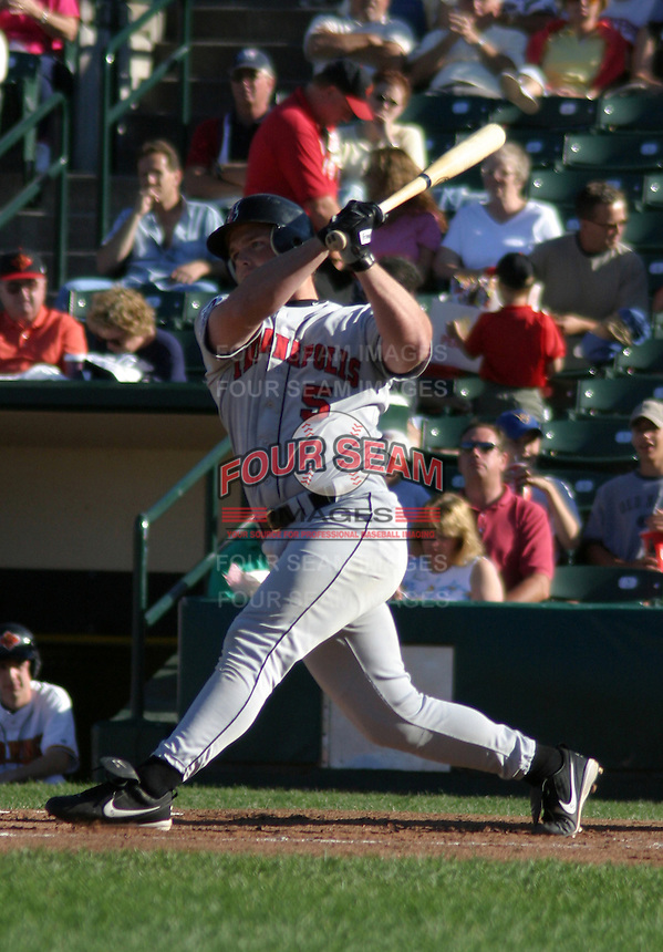 July 18, 2003:  Mark Smith of the Indianapolis Indians, Class-AAA affiliate of the Milwaukee Brewers, during an International League game at Frontier Field in Rochester, NY.  Photo by:  Mike Janes/Four Seam Images