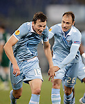 Calcio, Europa League: Lazio vs Panathinaikos. Roma, stadio Olimpico, 8 novembre 2012..Lazio forward Libor Kozak, of Czech Republic, celebrates with teammate Stefan Radu, right, after scoring during the Europa League Group J football match between Lazio and Panathinaikos, at Rome's Olympic stadium, 8 november 2012..UPDATE IMAGES PRESS/Riccardo De Luca