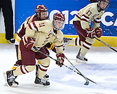 Jake Hendrickson (Duluth - 15), Pat Mullane (BC - 11), Johnny Gaudreau (BC - 13) - The Boston College Eagles defeated the University of Minnesota Duluth Bulldogs 4-0 to win the NCAA Northeast Regional on Sunday, March 25, 2012, at the DCU Center in Worcester, Massachusetts.