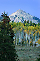 The bare slopes of Hahn's Peak are a prominent landmark in northwest Colorado.