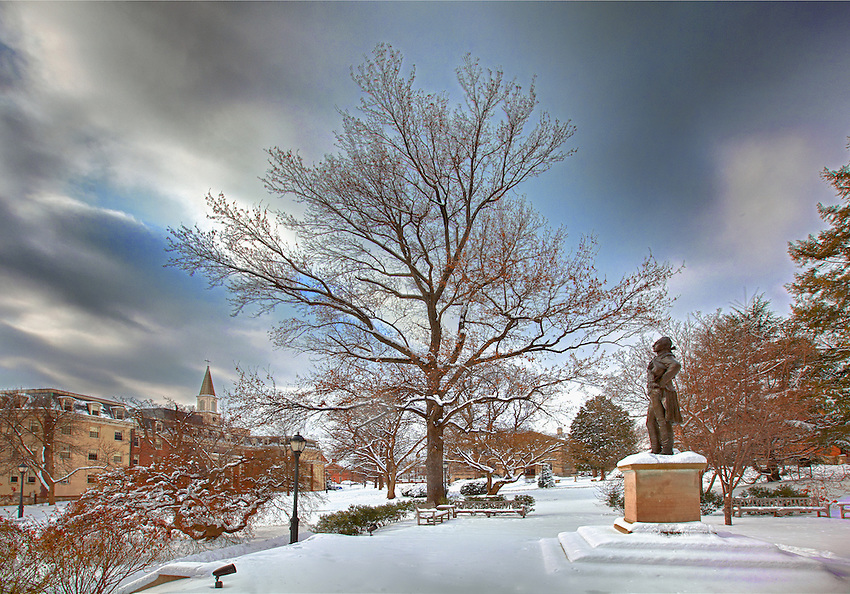 Various HIgh Dynamic Range Multiple exposure Scenic Campus photos of the 1st snowfall of 2011.4595