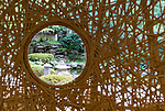 Photo shows a bamboo dividing wall created by local artisans that looks out onto the Japanese garden at Hana Beppu ryokan (traditional inn) in Beppu City, Oita Prefecture, Japan on Sept. 20. 2016.  ROB GILHOOLY PHOTO