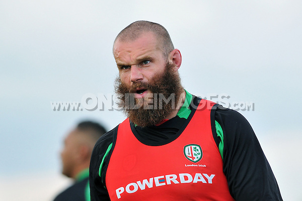 Geoff Cross looks on during a break in play. Pre-season friendly match, between London Irish and Bristol Rugby on August 22, 2014 at Hazelwood in Middlesex, England. Photo by: Patrick Khachfe / JMP