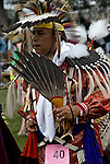 D.Salvatore Timberwolf Lamia dressing in traditional regalia.<br /> <br /> Tribal Ancestry: Shinnecock Indian Nation, Paukatuck Eastern Pequot. Inter tribal Dancing a celebration of ethnic Native American pride and heritage  at Thunderbird Pow Wow.<br /> <br /> release # 2276, # 2452