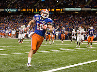 Florida tight end Kent Taylor scores a touchdown during 79th Sugar Bowl game against Louisville at Mercedes-Benz Superdome in New Orleans, Louisiana on January 2nd, 2013.   Louisville Cardinals defeated Florida Gators, 33-23.