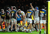 Zach Mercer of Bath Rugby celebrates a try by team-mate Nathan Catt. Aviva Premiership match, between Harlequins and Bath Rugby on November 27, 2016 at the Twickenham Stoop in London, England. Photo by: Patrick Khachfe / Onside Images