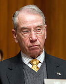 United States Senator Chuck Grassley (Republican of Iowa), a member of the U.S. Senate Finance Committee listens to the testimony U.S. Secretary of Health and Human Services (HHS) Kathleen Sebelius during a hearing on the agency's FY 2013 budget proposal on Capitol Hill in Washington, D.C. on Wednesday, February 15, 2012..Credit: Ron Sachs / CNP