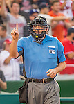 7 October 2016: MLB Umpire Dan Bellino works home plate during the NLDS Game 1 between the Los Angeles Dodgers and the Washington Nationals at Nationals Park in Washington, DC. The Dodgers edged out the Nationals 4-3 to take the opening game of their best-of-five series. Mandatory Credit: Ed Wolfstein Photo *** RAW (NEF) Image File Available ***