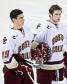 Chris Kreider (BC - 19), Kenny Ryan (BC - 18) - The Boston College Eagles defeated USA Hockey's National Team Development Program's Under 18 team 6-3 on Friday, October 9, 2009 at Conte Forum in Chestnut Hill, Massachusetts.