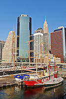 South Street Seaport, Lower Manhattan Skyline, New York City, New York, USA