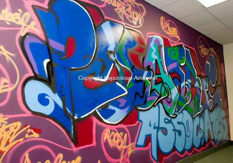 WATERBURY, CT- 15 MARCH 07- 031507JT02- <br /> Graffiti artist Dan Cogan created this mural on a wall at Pediatric Associates in Waterbury on Thursday, March 15.<br /> Josalee Thrift Republican-American