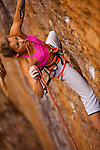 Sasha DiGiulian climbing &quot;Golden Boy&quot; 13b at &quot;The Gold Coast,&quot; Pendergrass Murray Recreational Preserve, Red River Gorge, Kentucky, USA.