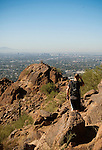 Hiking Camelback Mountain in Scottsdale, Arizona.