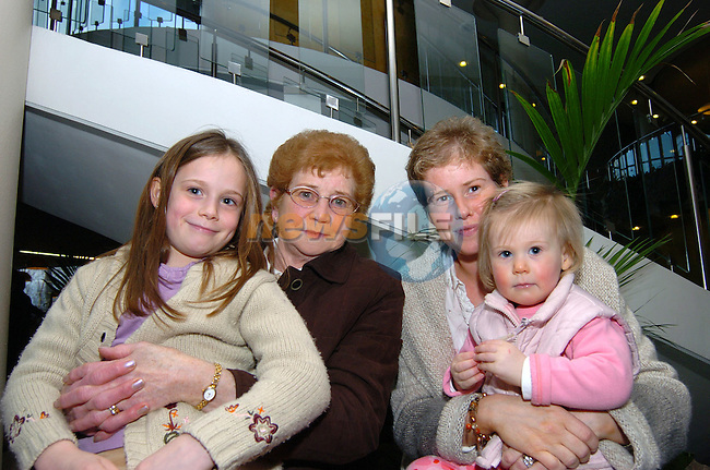 Emily Byrne with her grandmother Lily Bagnall, mother Moira Byrne and sister Louise Byrne l at the concert in aid of the Tsunami appeal in the Bru na Boinne centre. Photo: Colin Bell / Newsfile