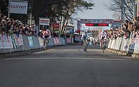 Mathieu Van der Poel (NED/Beobank-Corendon) sprinting against Kevin Pauwels (BEL/Marlux - Napoleon Games) &amp; Laurens Sweeck (BEL/Era-Circus) towards the finish line<br /> <br /> men's race<br /> CX Soudal Classics Leuven/Belgium 2017