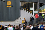 Alloa Athletic football supporters making their way into the main stand at Recreation Park before the Co-operative Insurance Cup second round match with visitors Aberdeen. Scottish League second division Alloa lost the match by three goals to nil against their Premier League rivals in a match watched by 1649 spectators.