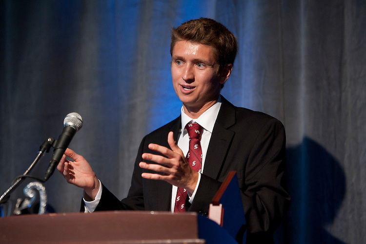 June 2, 2011; San Francisco, CA, USA; Santa Clara Broncos cross country runner Christopher Mosier speaks after receiving the Postgraduate Scholarship award during the WCC Honors Dinner at the Westin St. Francis Hotel.