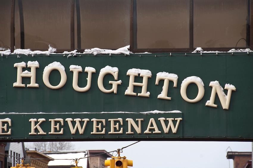 Down town Houghton Michigan in winter.