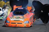 May 5, 2012; Commerce, GA, USA: NHRA funny car driver Todd Lesenko during qualifying for the Southern Nationals at Atlanta Dragway. Mandatory Credit: Mark J. Rebilas-