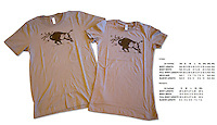 The Sand-colored version of our most popular t-shirt (for those who don't like the yellow), featuring a Yellowstone bison tossing a tourist in the air.  This is the same design that has been used on safety fliers in the park for decades.  The image is used legally and with permission.<br />