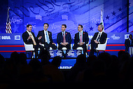 "National Harbor, MD - February 23, 2017: Governors Matt Bevin of Kentucky, Sam Brownback of Kansas, Doug Ducey of Arizona and Scott Walker of Wisconsin, participate in the ""States vs The State: How Governors are reclaiming America's Promise"" forum moderated by Richard Graber during the Conservative Political Action Conference at the Gaylord Hotel in National Harbor, MD, February 23, 2017.  (Photo by Don Baxter/Media Images International)"