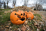 Jack-O'-Lanterns discarded after Halloween has passed in Madison, Wisconsin.