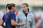 20 August 2014: U.S. head coach Jill Ellis (right) talks with captain Christie Rampone (USA) (left). The United States Women's National Team played the Switzerland Women's National Team at WakeMed Stadium in Cary, North Carolina in an women's international friendly soccer game. The United States won the match 4-1.