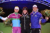 SCHAATSEN: AMSTERDAM: Olympisch Stadion, 28-02-2014, KPN NK Sprint/Allround, Coolste Baan van Nederland, podium Heren Sprint 1000m, Thomas Krol, Kjeld Nuis, Hein Otterspeer, ©foto Martin de Jong