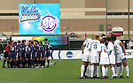 Players from both teams huddle before the opening kickoff. The University of Portland Pilots defeated the UCLA Bruins 4-0 to win the NCAA Division I Women's Soccer Championship game at Aggie Soccer Stadium in College Station, TX, Sunday, December 4, 2005.