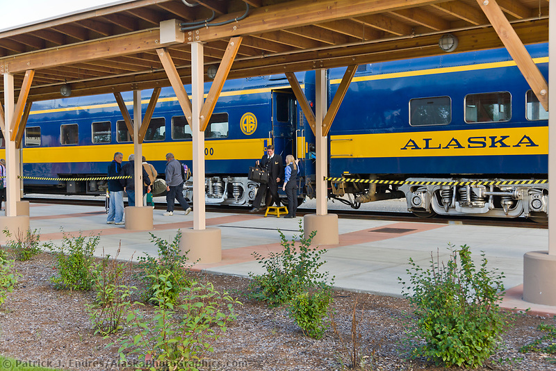 Alaska Railroad passenger cars, Fairbanks train depot, Fairbanks, Alaska.