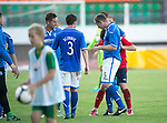 St Johnstone v FC Minsk...01.08.13 Europa League Qualifier at Neman Stadium, Grodno, Belarus...<br /> Frazer Wright and Mikita Bukatkin have words at full time<br /> Picture by Graeme Hart.<br /> Copyright Perthshire Picture Agency<br /> Tel: 01738 623350  Mobile: 07990 594431