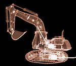X-ray image of an excavator (color on black) by Jim Wehtje, specialist in x-ray art and design images.