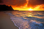 Sunset from Tunnels Beach, Na Pali Coast, Island of Kauai, Hawaii USA