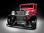 1926 Essex Super Six red vintage car hot rod isolated on black background with clipping path