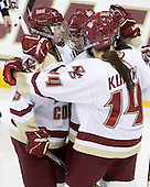 Taylor Wasylk (BC - 9), Kelli Stack (BC - 16), Ashley Motherwell (BC - 18), Katelyn Kurth (BC - 14) - The Boston College Eagles defeated the visiting Brown University Bears 5-2 on Sunday, October 24, 2010, at Conte Forum in Chestnut Hill, Massachusetts.