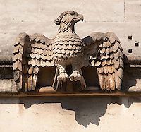Eagle Gargoyle below Magdalen Great Tower, part of Magdalen College, Oxford University, England.