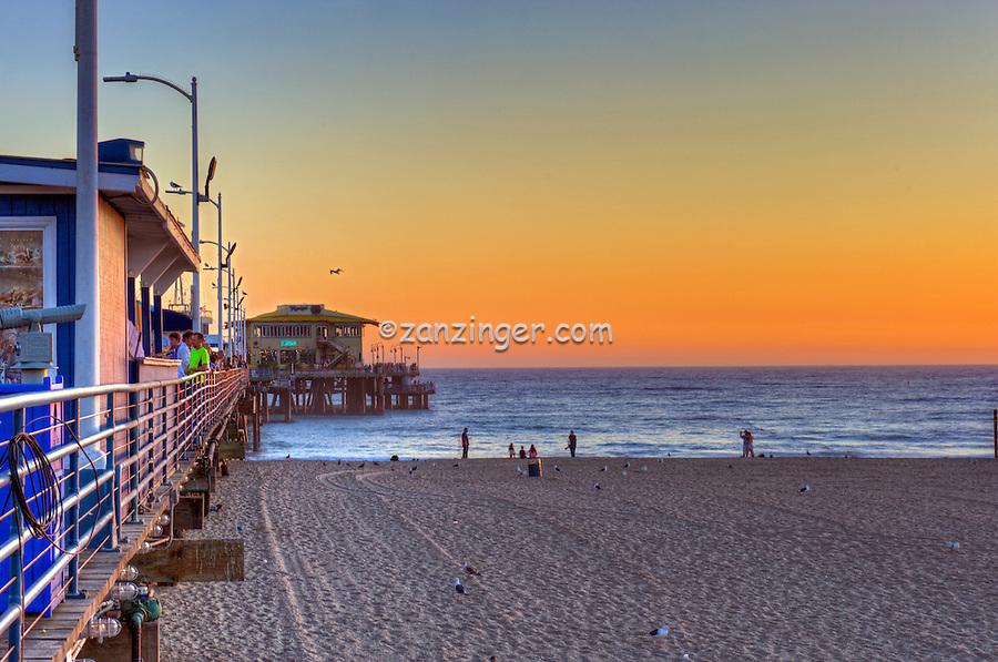 Santa Monica CA Beach, Pier Sunset, Beach, Activities, People, Pacific Park Amusements, Over Water, mix of stores, restaurants, Beautiful