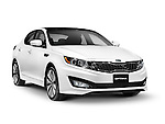 White 2013 Kia Optima midsize sedan car isolated on white background with clipping path
