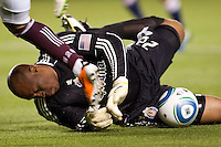CD Chivas USA veteran GK Zach Thornton (22) makes a tremendous save in front of the goal. The Colorado Rapids defeated CD Chivas USA 1-0 at Home Depot Center stadium in Carson, California on Saturday March 26, 2011...