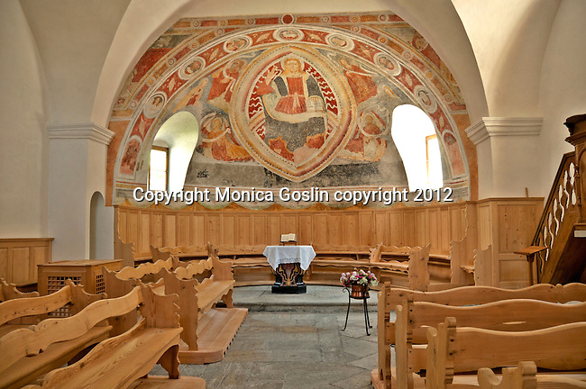 15th century fresco (restored in 17th century) and hand-carved locally produced furniture, in the San Martino church which dates back to 1250, in the Swiss Bregaglia Valley town of Bondo