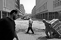 Baghdad, Iraq, May 22, 2003.US troops mounting guard near Rashid street to protect Iraq's National Bank and its employees, all traffic is thus diverted away from this normally very active area, creating massive congestions and trouble for the people.