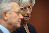 French Finance Minister Christine Lagarde (L) and Italian Finance Minister Giulio Tremonti   prior to a ministerial meeting on the European Stability Mechanis and Eurogroup meeting in  Brussels, Belgium on 2011-05-16 EU finance ministers met to discuss the financial aid package for Portugal and Greek debt crisis.   by Wiktor Dabkowski