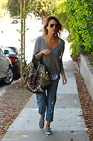 Jessica Alba Taking a Walk in Malibu