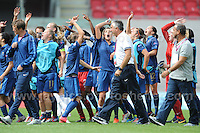 The French squad celebrate winning the match against Germany during the UEFA Womens U19 Semi-Final at Parc y Scarlets Wednesday 28th August 2013. All images are the copyright of Jeff Thomas Photography-www.jaypics.photoshelter.com-07837 386244-Any use of images must be authorised by the copyright owner.