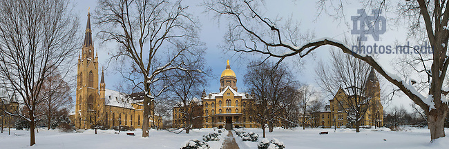 Jan. 8, 2014; Panorama of the Basilica of the Sacred Heart, Main Building, and Washington Hall in winter.<br /> <br /> Photo by Matt Cashore/University of Notre Dame