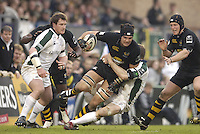Wycombe, ENGLAND, Dan Leo is tackled in midfield, London Wasps vs London Irish  Guinness Premiership Rugby, at the, Causeway Stadium, © Peter Spurrier/Intersport-images.com,  / Mobile +44 [0] 7973 819 551 / email images@intersport-images.com.